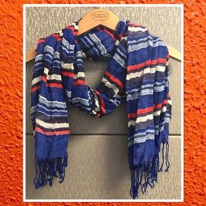 Talbots Orange, Blue, & White Striped Scarf